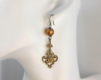 Vintage brass and bronze Spectra bead Boho chandelier earrings gift for her earring women's jewelry dangle drop dusters classic vintage