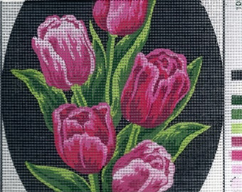 Collection d'Art-PINKISH PLUM TULIPS-Needlepoint Canvas #1117381-Size 7.1 X 9.4-inch