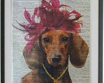Dachshund Print No.222, funny dog, dachshund print, dachshund decal, sausage dog, dachshund art, dachshund wall decor, dachsund