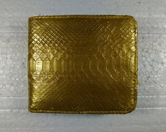 GOLD PYTHON WALLET Genuine Python Snakeskin Bifold Wallet