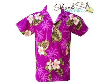 Hawaiian Shirt Purple Hibiscus Tropical Party Shirt