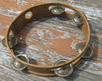 Vintage Old School Natural Wooden Tambourine