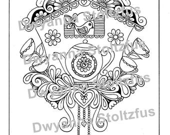 Tea Time Clock Coloring Page PDF