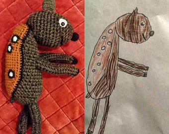 Custom crochet toy from drawing.