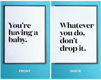 Funny Baby Card - New Baby Card - Expecting Baby Card - Funny Baby Shower Card - You're Having a Baby