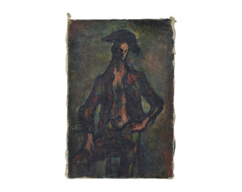 1960's Oil Painting of Circus Performer with Shirt Open Madeleine Flaschner French