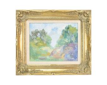 "Vintage ""Mexican Landscape"" Modernist Oil Painting Michael Baxte Russian American"