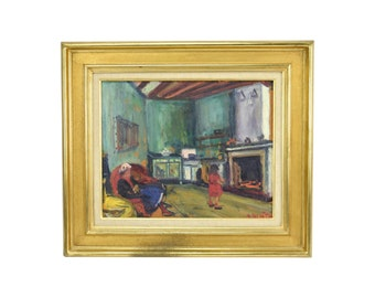 Arbit Blatas Oil Painting Interior Scene with Little Girl in Front of Heart