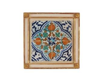 Antique 17th Century Dutch Deflt Polychrome Tile w Pomegranates