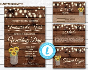 Rustic Wedding Invitation Printable, Country Wedding Invitation, Digital file, Printable, wedding invitation suite, Mason Jar Wedding
