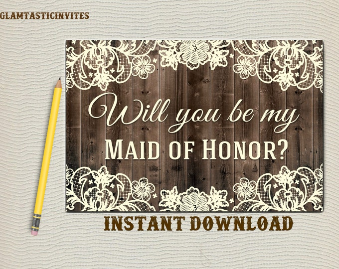 Will you be my Maid of Honor, Rustic, Rustic Wedding, Rustic Will you be my Bridesmaid card, Bridesmaid proposal, Printable, Rustic Card
