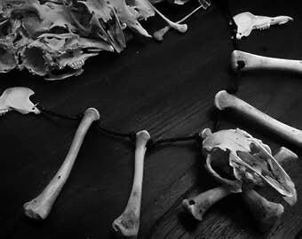Nergal rabbit skull and bones necklace