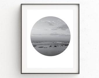 Beach Wall Photography, Beach Wall Print, Sea Wall Art Decor, Ocean Photography Print, Beach Print Art, Black and White, Landscape Photo