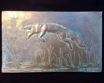 Fox wall sculpture, cold cast bronze animal ornament, antique garden sculpture, animal art gift, fox picture art, farm animal art