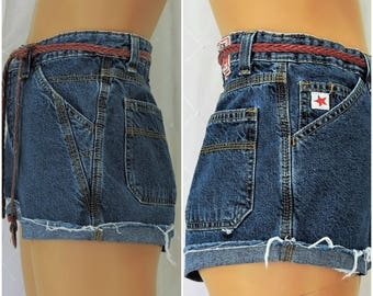 80s high waisted denim shorts / size 5 / 6 / retro Rockies cut off jean shorts / boho hipster western / high waist denim shorts