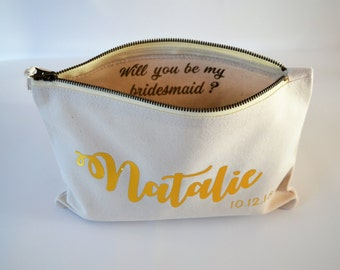 Will you be my bridesmaid gift bag, wedding favor bags, bridesmaid gift idea, wedding favors, cream bag, Personalised bag, toiletry bag