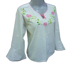 mexican blouse mexico embroider blouse mexican vintage cotton 100% H58