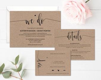 Simple Wedding Invitation Template • Rustic Wedding Invitation Printable • Minimalist Wedding Invitation Suite • Modern Calligraphy Wedding