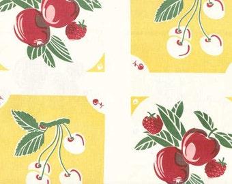 "1/2 yd Moda 16"" Toweling Granny Garden Fruit 920 119 Yellow"
