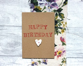 Happy Birthday - Hand Stamped Greetings Card With Vintage Quilt Heart