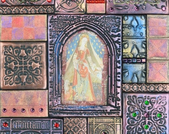 RESERVED Medieval mixed media mosaic, Polymer clay mosaic on slate, The Lady and the Unicorn