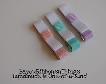 Pink Blue Purple Hair Clips for Girls Toddler Barrette Kids Hair Accessories Grosgrain Ribbon No Slip Grip