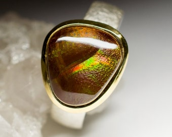 Mexican Fire Agate Silver Ring art e-067 | Natural Organic Fire Agate Sterling Silver Fine Jewelry