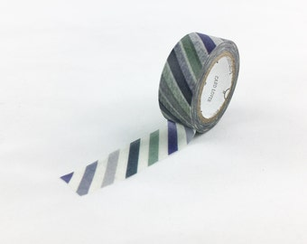 Shades of Blue Diagonal Stripe Washi Tape, Japanese Paper Tape, Blue Striped Tape, Scrapbooking Tape, Card Making Supplies // CR-W-S059