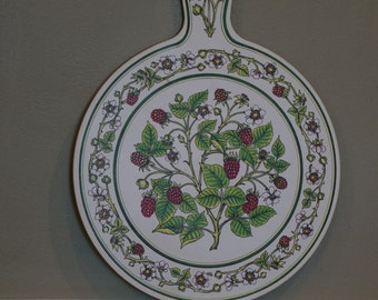 Tauton Ware Acrylic cutting board/ Raspberry Motif/ Berry Cutting Board