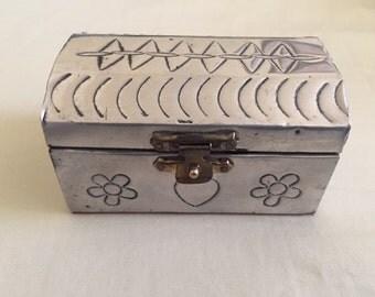 Vintage Hammered Alumnium Trinket Box