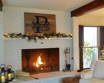 Wall Art Monogram House Sign Monogrammed Wreath Monogram Wreath Fireplace Monogram Custom