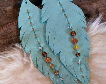 Turquoise Vegan leather feather earrings