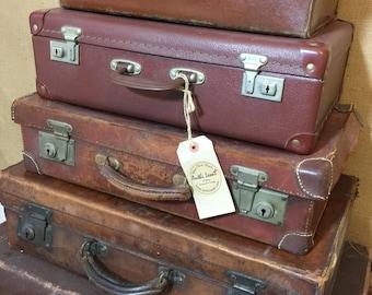 vintage luggage. vintage brown suitcases - tan luggage home decor suitcase stack storage
