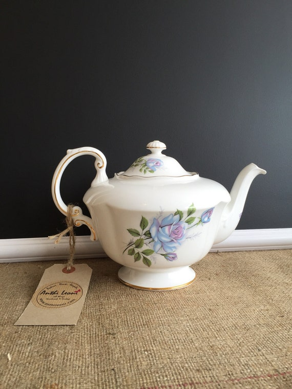 Paragon Blue Moon Fine Bone China Tea Pot - Vintage China Tea Service Piece - Pretty Blue Lilac Rose Pattern - Circa 1950s