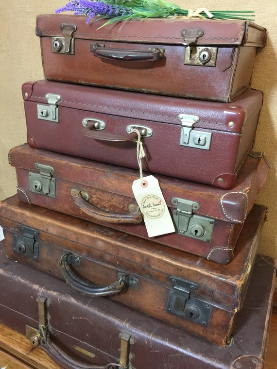Vintage Brown Suitcases - Tan Vintage Luggage - Vintage Home Decor - Suitcase Stack Storage - Vintage Leather Cases -  Photo Props