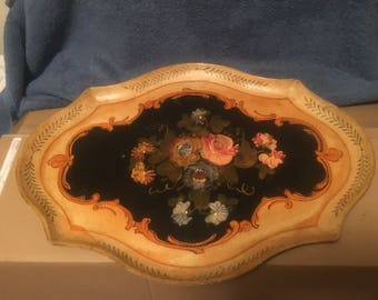 Vintage 1960's Japanese Hand Painted Tole Tray Oval Japan