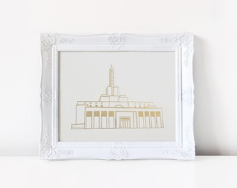 Madrid Temple - Hand Drawn - REAL FOIL - Gold Foil Print - LDS - Illustration - Spain - Mormon - Home Decor - Madrid