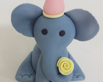 Fondant Elephant Cake Topper - 3D Edible Cake Decoration
