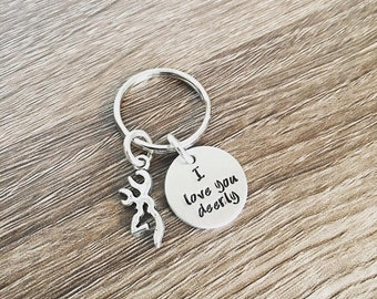 Deer head key chain / I love you deerly / hunting key chain / Valentines day gift for him / deer keychain / hunter gift / husband gift
