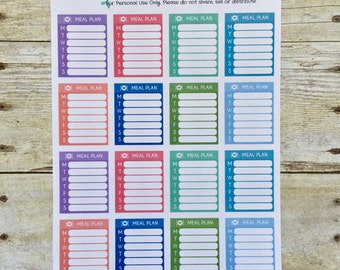 Weekly Meal Plan Side Bar Planner Stickers F384