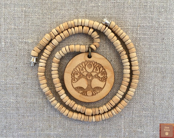 Ancient Tree of Life Carved Pendant—Recycled Maple Wood & Recycled Beige Coconut Shell