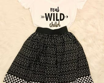 Real Wild Child Women's V Neck T-shirt - Womens Boho Graphic Tee - Matching Sibling or Matching Family Tees - Mommy and Me Arrow Tees