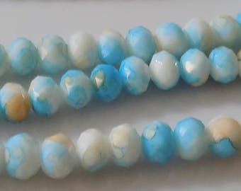 """Unique Turquoise and White 8x6mm Faceted Rondelle Natural Jade Gemstone Beads (17"""" Strand)"""