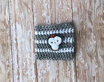 Penguin Coffee Cozy~Crochet Coffee Cozy~Gray White Cozy~Coffee Sleeve~Coffee Cozy~Starbucks Travel Cup Coffee Sleeve~Coffee Gifts~Reuseable