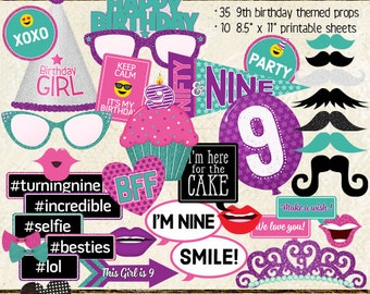 Photo Booth Props, HAPPY 9TH BIRTHDAY, girl, printable sheets, instant download, diy, party planning, purple, pink, teal, turquoise