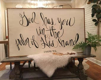 3x5 Hand Lettered Isaiah 49:16 Wood Sign