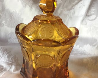 Vintage Fostoria Amber Candy Dish with Lid , Satin Frosted Eagle and Torch