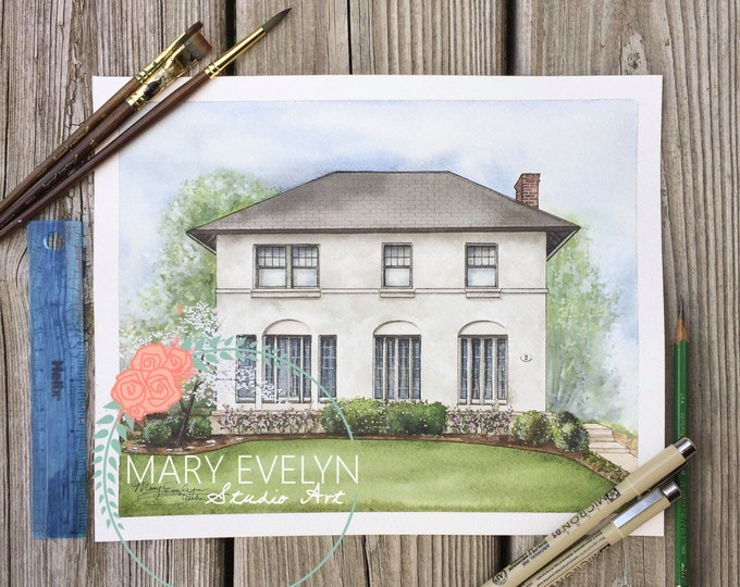 """Featured listing image: 8"""" x 10"""" Custom Watercolor House Illustration"""
