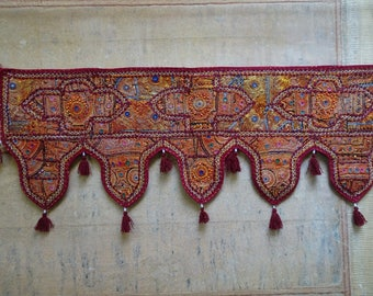 Hand Embroidered Wall Tapestry, Mirror Work Window Door Valance, Embroidery 59