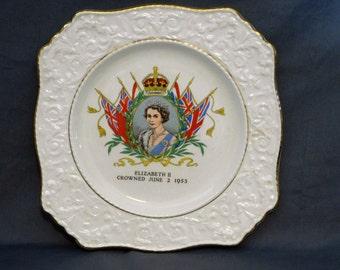 Vintage Queen Elizabeth Plate, 1956 Queens Coronation, Royal Winton Commemorative Collectors Plate